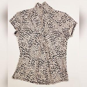 Grace Cheetah Animal Print Cap Sleeve Blouse